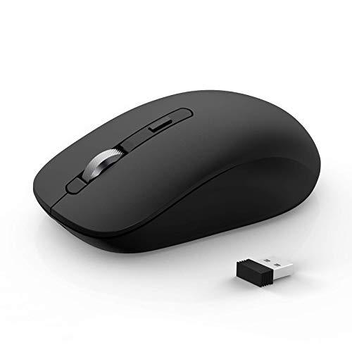 Mouse Bluetooth, JOYACCESS Mouse Wireless Dual Mode (BT 5.0 / 3.0 + 2.4G), Mouse portatile 1600 DPI compatibile con PC, iPad, MacBook Computer, Windows, MacOS, Android, Nero …