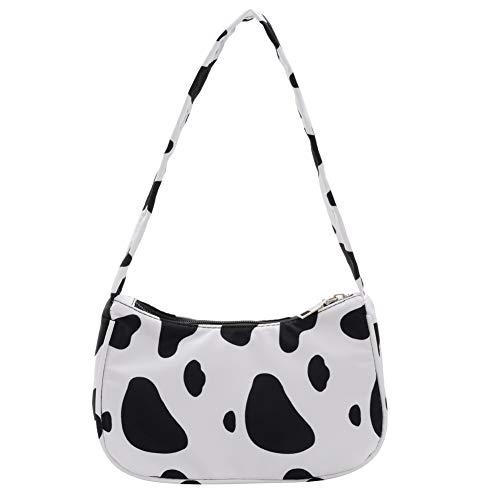 Retro Achsel Tasche Vintage Schultertasche Kuh Handtasche für Frauen (A, 22cm*5cm*14cm)