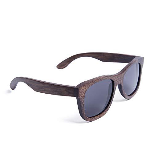 Ynport Crefreak - Occhiali da sole polarizzati in legno di bambù, per uomo e donna, con custodia Grigio Taglia unica