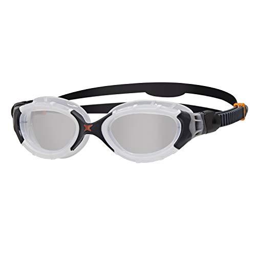 Zoggs Predator Flex Occhialini da Nuoto Unisex Adulto, Bianco/Nero/Trasparente, Regular