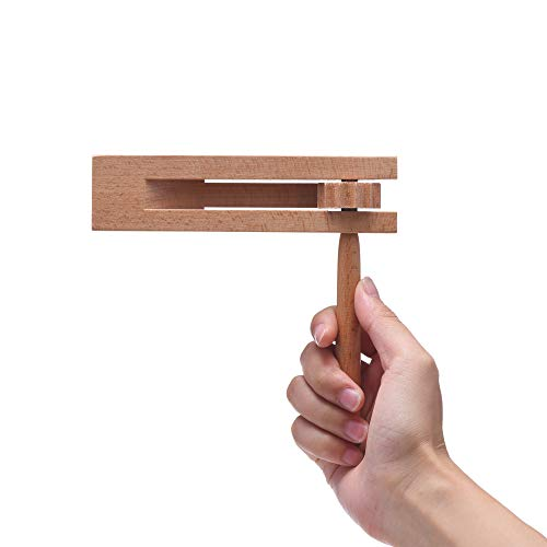 Wooden Spinning Ratchet Noise Maker Grogger, Traditional Matraca for Parties, Sports Events and Celebrations