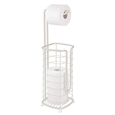 mDesign Metal Free Standing Toilet Paper Holder Stand and Dispenser, with Storage for 3 Spare Rolls of Toilet Tissue While Dispensing 1 Roll for Bathrooms/Powder Rooms - Holds Mega Rolls