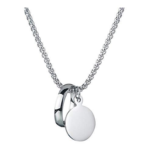 AdorabFruit Présent Pendentif Personalidad de Acero Inoxidable Círculo de Acero Inoxidable Collar Pendiente Redondo Collar (Metal Color : Silver)