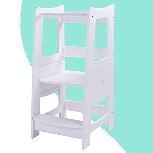 EGREE Toddlers Kitchen Step Stool with Safety Rail Kids Wooden Standing Tower for Kitchen Counter and Bathroom Sink, 3 Heights Adjustable Step Up Stool Mothers' Helper, Solid Wood Construction, White