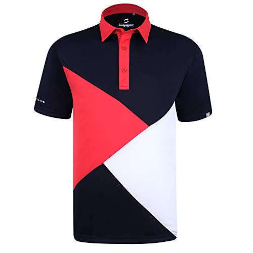 SAVALINO Men's Bowling Polo Shirts Material Wicks Sweat & Dries Fast, New Finishing Technologies to Combat Smell with Material Wicks Sweats & Dries Fast 4XL Navy/Red/White