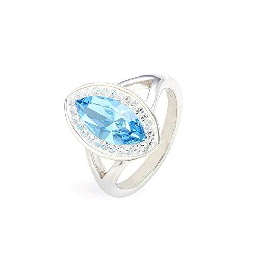 LA SENJA Anillo de cristal azul aguamarina hecho a mano, anillo marquesa para mujer, anillo de plata de ley 925