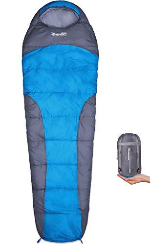 WhereTomorrowSchlafsack Small and Light - Ultraleicht 700 g und kleines Packmaß - 220x80x50 cm - gepackt 26x14 cm- ideale Wärmeregulierung - Grau/Himmelblau