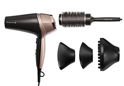 Remington Curl and Straight Confidence Secador de pelo, ligero iónico secador de pelo con difusor, boquilla rizada, boquilla alisadora y cepillo para el cabello, D5706