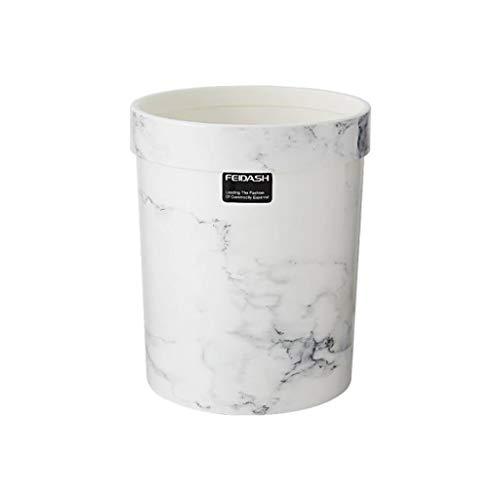 ZDS Marmor mülleimer ohne Abdeckung, Kunststoff papierkorb rund Home Wohnzimmer Schlafzimmer büro küche einfache europäische mülleimer 7L (schwarz und weiß) (Farbe : Weiß)