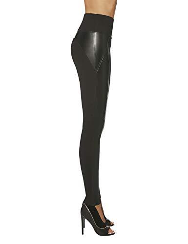 Bas Bleu–Legging push-up recto en tejido de piel sintética, alta calidad, talla L
