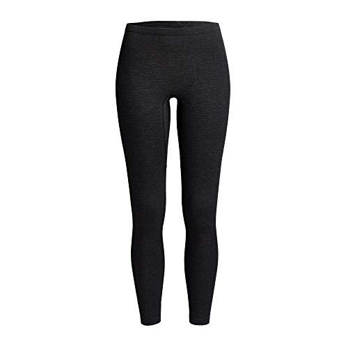 con-ta Thermo Lange Hose, Damenleggings mit natürlicher Baumwolle, wärmeisolierende Thermo-Leggings, Lange Unterwäsche, schwarz Melange, Größe: 50