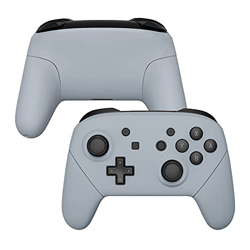 eXtremeRate New Hope Gray Faceplate Backplate Handles for Nintendo Switch Pro Controller, Soft Touch DIY Replacement Grip Housing Shell Cover for Nintendo Switch Pro - Controller NOT Included