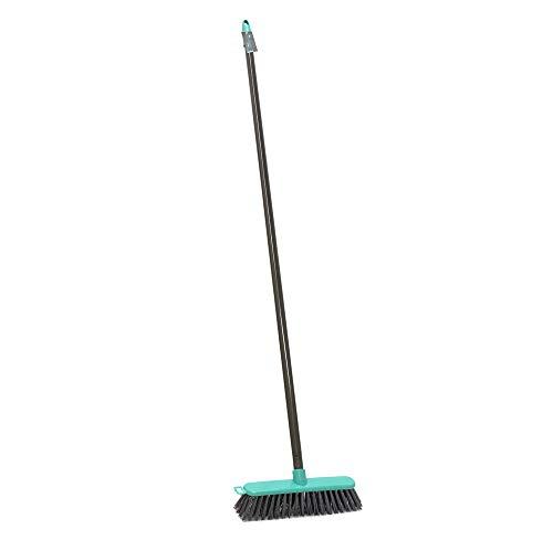 JVL Lightweight Outdoor Hard Bristle Sweeping Brush Broom, Grey/Turquois