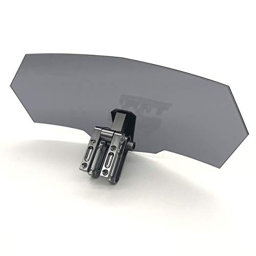 WERTYU Clip-on Windshield Spoiler, Motorcycle Wind Deflector Smoked Windshield Fit for BMW R 1200 Gs Vfr 800 Yamaha Kawasaki Versys 650 Triumph Benelli Windshield Windscreen Spoiler (Color : Gray)
