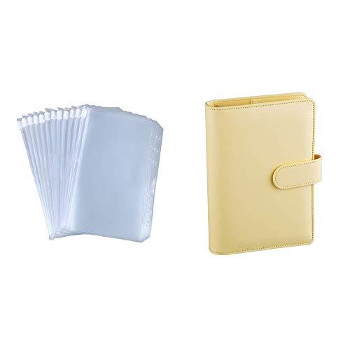 Antner 12 Pieces A6 Binder Pockets Bundle   A6 PU Leather Notebook Binder (Yellow)