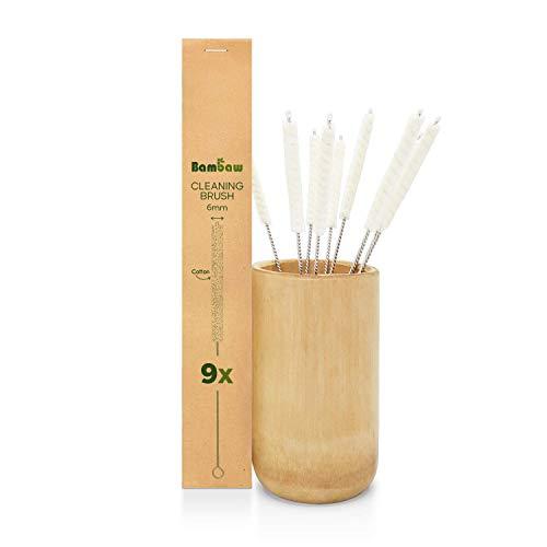 Bambaw Scovolino Pulizia Set di 9 | Scovolino Cannuccia | Scovolini Pulizia Tubi | Scovolini Pipa | Mini Scovolino | Scovolino Provette | Scovolino Bottiglie Piccola | Spazzola Tubi | Clean Brush