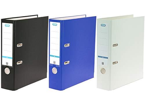 ELBA 400135432 Ordner smart Pro 3er Set (schwarz, blau und weiß) 8 cm breit DIN A4  mit Einsteck-Rückenschild und Kunststoffbezug außen