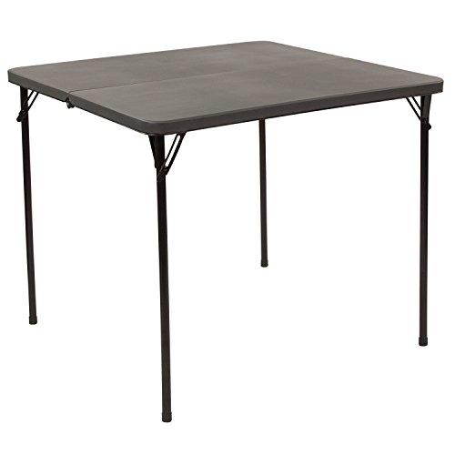 Flash Furniture 3-Foot Square Bi-Fold Dark Gray Plastic Folding Table with Carrying Handle - DAD-LF-86-DG-GG