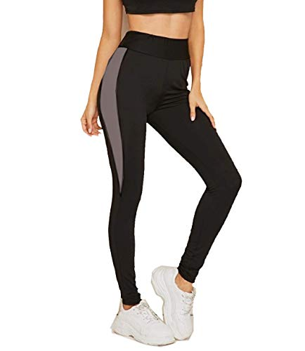 Neu Look Gym wear Leggings Ankle Length Workout Tights | Stretchable Sports Leggings | Sports Fitness Yoga Track Pants for Women (Grey, X-Large)