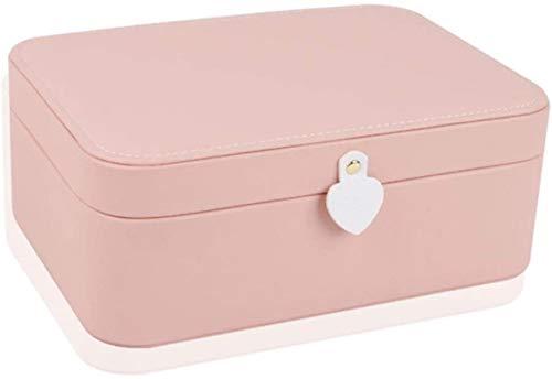 Cajas de cofres de joyas Caja de joyería portátil Bolsa de almacenamiento de viaje para anillo Mini maleta Caja de almacenamiento versátil para joyería Cajas de exhibición para niña (color: rosa)