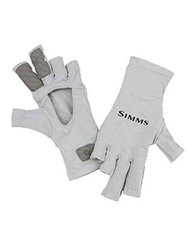 Simms SolarFlex UPF 50 Fingerless Fishing Gloves, Unisex, Sterling M