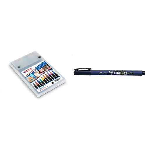 edding 1340 Brush Pen - Fasermaler mit variabler Spitze - 10er Set , Farblich sortiert & Tombow WS-BH Brush Pen Fudenosuke, harte Spitze, schreibfarbe schwarz