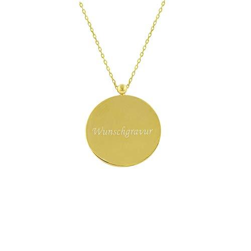Stella-Jewellery 585er Gold Kette mit Kreis Anhänger 17Ø Text Gravur Namenskette Collier Gravurplatte