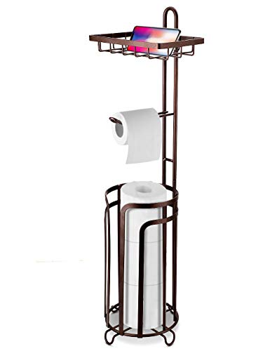 VEARMOAD Floor Toilet Tissue Paper Holder Stand with 3 Spare Rolls High Storage Rack, Top Functional Holder for Phone or Air Freshener, Perfect for Bathroom, RV - Bronze Red