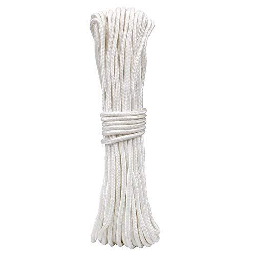KINGLAKE 30 m 6 mm Weiß Dickes Nylon-Seil gedrehte Schnur Multifunktionale Hängeschnur für Gartenbündelung, handgefertigte Projekte, Camping, Survival