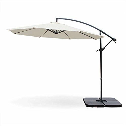 Alice's Garden Parasol déporté Rond Ø300cm - Hardelot - Ecru - Manivelle Anti-Retour | Toile déperlante | Facile à Utiliser