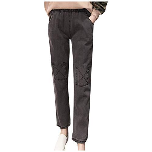 Zarupeng dames retro losse jeans chino broek vrijetijdsbroek elastische taille rechte pijpen broek joggingbroek effen jeansbroek
