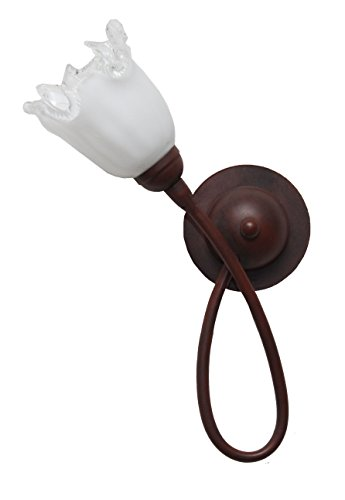 valfb35118 AP1 Doge 3 Made in Italy Applique Lampe murale fer forgé noir/rouille Verre Blanc Brillant éclairage d'intérieur produit de Valastro Lighting