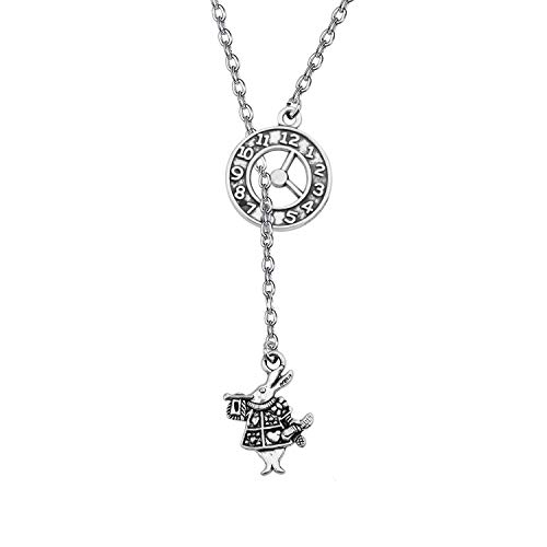 KUIYAI Alice in Wonderland Inspired Necklace The Cheshire Cat Charm Y Necklace Clock Time Charm Fairy Tale Jewelry for Girls (Time Clock+Rabbit)