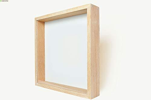 Demiriola' tiefer 3D BILDERRAHMEN | Buche-Natur-Weiß | 27x27x4,6Cm | Holz/Glas | Objektbilderrahmen zum befüllen | Garantie