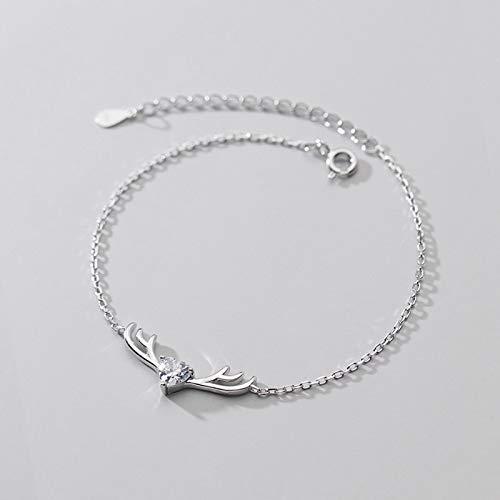 siqiwl Pulsera de moda dulce cuernos pulsera para las mujeres de la boda joyería de plata