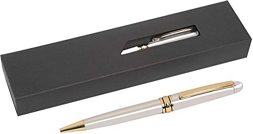 Personalised Engraved Ballpoint Pen with Blue plus Black Ink in a Gift Box - Custom Gifts For Christmas, Gifts For Men and Women, Great for School & Office - Enter Your Custom Text (Silver Gold Trim)