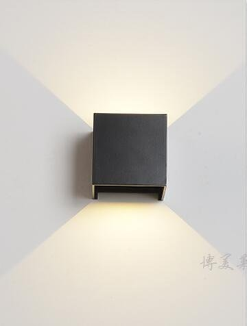 WINZSC LED Mur extérieur Lampe étanche extérieure Mur Lampe Chevet Chambre Salon Double escaliers Petite lumière extérieure FG614 lo9 (Color : Black)