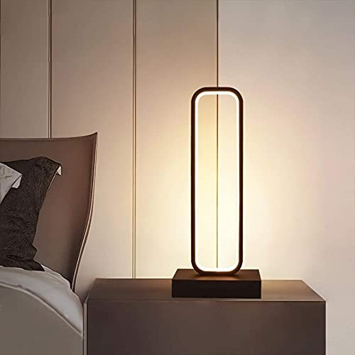 MWKL Lámpara de Mesa LED para Sala de Estar de 18W Regulable con Control Remoto, lámpara de Noche Minimalista para Dormitorio Moderno Lámpara de Escritorio de Aluminio Negro para niños Roo