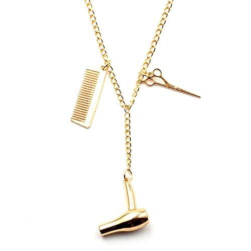 Haartrockner / Schere / Kamm Halsketten Friseur Friseur Schmuck Geschichtete Halskette Schere Kamm Männlich Herren Weiblich-xl1060_United States