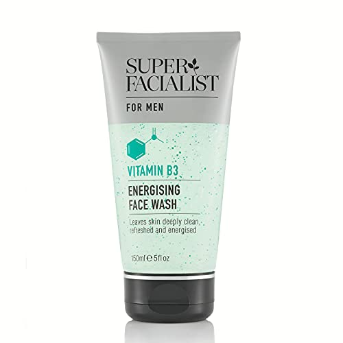 Super Facialist Mens Face Wash Energising with Vitamins B3 & E, Cleanses Daily Impurities, Oil- Free, Vegan Friendly cleanser, Made in UK, 150 ml