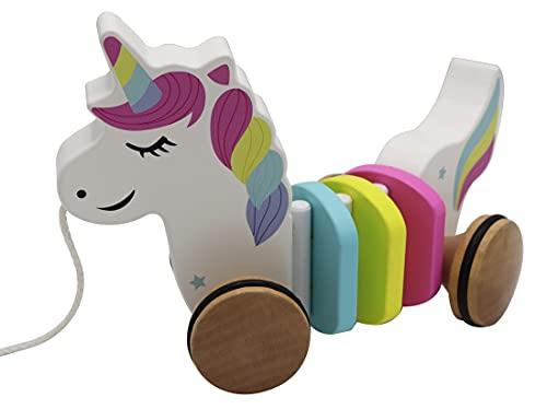 WoodyWood® Nachziehspielzeug Einhorn, Holzspielzeug für Babys und Kinder, Kinderspielzeug ab 1 Jahr zum Ziehen, Schieben, Spielen, Nachziehtier zur Förderung der Bewegung & Motorik