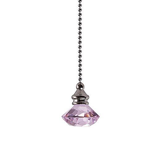 Cadena de extracción para decoración del hogar, colgante de techo, extensión de ventilador de techo, transparente, prisma de boda, portátil, luz de escritorio deslumbrante, estilo de cristal (rosa)