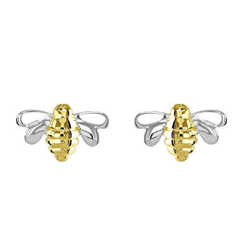 Dew Sterling Silver Dinky Bee Gold Plate Stud Earrings 4465GD