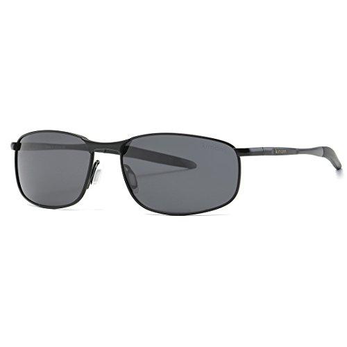 kimorn Polarizado Gafas de sol Hombre Retro Rectangulares metal Marco K0535 (Negro)