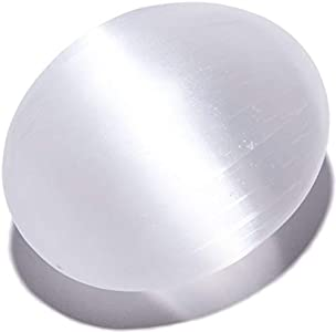 KALIFANO Selenite Worry Stone with Healing & Calming Effects - High Energy Palm Stone Used for Cleansing and Protection (Information Card Included)