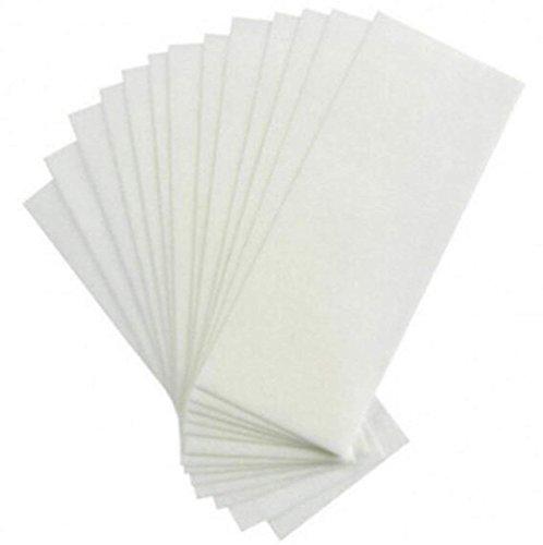 Liangkang 100PCS Blanco Desechable Cuerpo no tejido Facial Pierna Brazo Cera Eliminar tiras Depiladora Depilación profesional Depilación con papel depilatorio para hombres y mujeres unisex