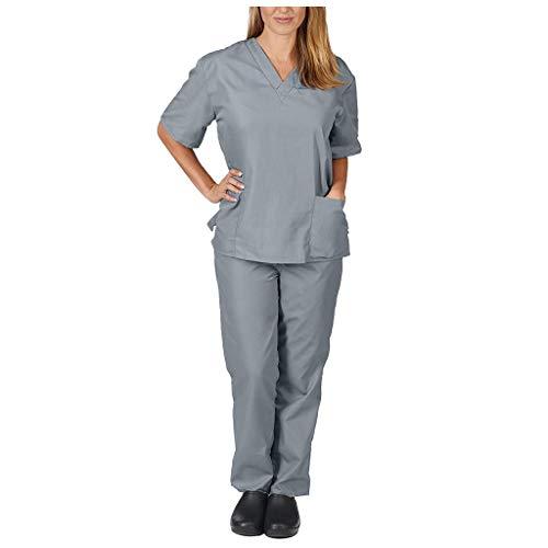 Zilosconcy Arbeitskleidung Kurzarm T-Shirts V-Ausschnitt + Hosen Pflege Set Medizin Arzt Berufsbekleidung Krankenschwester Kleidung Damen Uniformen Oberteil mit Tasche Unisex GrauS