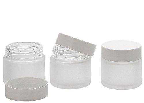 Matt Glas-Tiegel 30 ml m. Deckel, Leere Kosmetex Glas Creme-Dose, Kosmetik-Dose, 3× 30 ml Mattglas Weiß Deckel