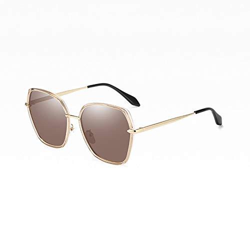 Stella Fella Nuevas Damas Polarizadas Gafas De Sol Polígono Moda Moda Marco Grande Gafas Coloridas Protección UV400 (Color : Brown)