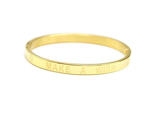 Oh My Shop–bc1995d–Braccialetto a cerchio acciaio dorato con messaggio Make a Wish